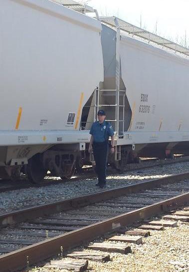 Knighthawk Security guard in rail yard